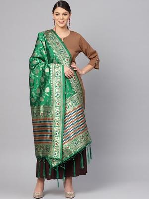 Women's Green Woven Banarasi Silk dupattas