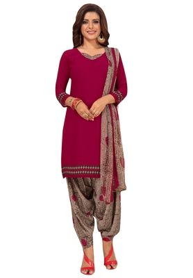 Women's Maroon & Grey Synthetic Printed Unstitch Dress Material With Dupatta