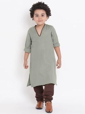 Grey Plain Cotton Boys Kurta Pyjama