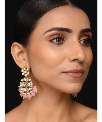 Kundan And Pink Stones Earrings
