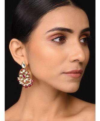 Ruby Red Kundan Earrings