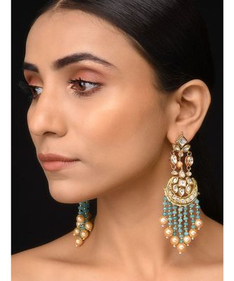 Kundan And Teal Stone Earrings