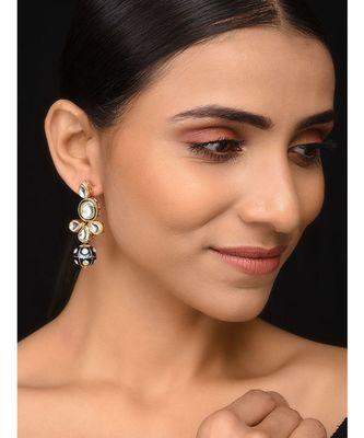 Kundan And Blue Meenakari Earrings