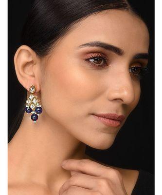 Kundan And Blue Stone Earrings