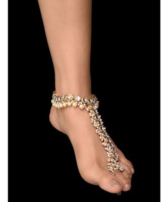 Kundan and Pearls Anklet - single