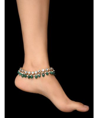 Kundan and Green stones Anklets - set of 2