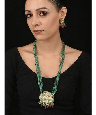Red And Green Kundan Meenakari Pendant Necklace Set