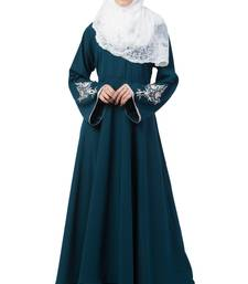 A-Line Designer Abaya With Embroidery And Border Lining On Bottom