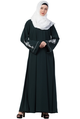 A-Line Designer Abaya With Embroidery (Bottle Green)