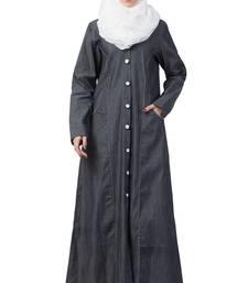 Front Open Designer Denim Coat Abaya