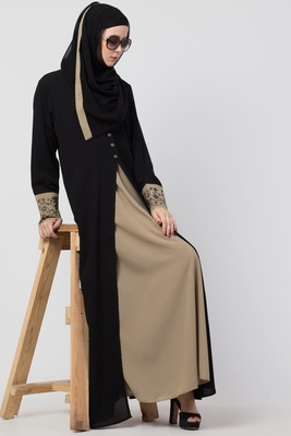 A-Line Designer Abaya With Embroidery And Button On Front