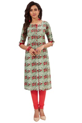 Light-green printed cotton cotton-kurtis