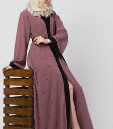Front Open Dubai Abaya With Belt and Dotted Embroidery