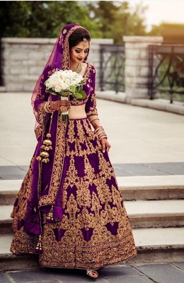 Wine embroidered velvet semi stitched lehenga
