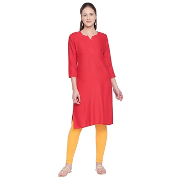 Red Solid Rayon Kurta For Women