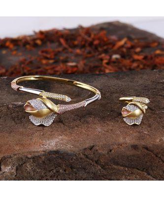 Cubic Zirconia Golden Silver Rose Gold Rose Design Bracelet Ring Combo