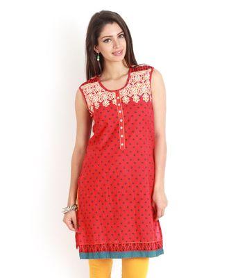 Red Cambric Short Sleeve Straight Long Kurta