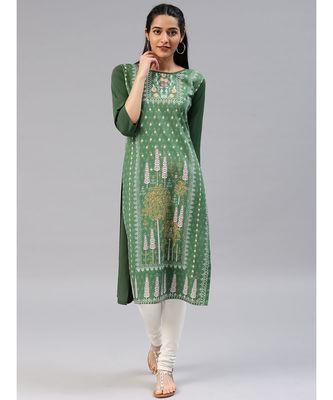 Green printed polyester stitched kurti
