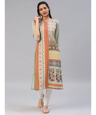 Beige printed polyester stitched kurti