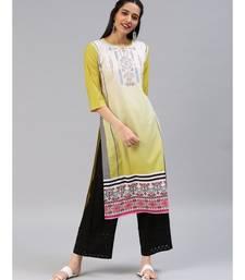 Mustard printed polyester stitched kurti