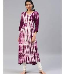 Purple printed rayon stitched kurti