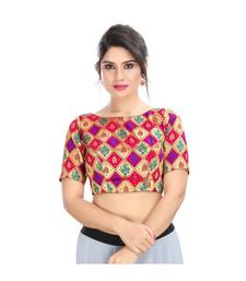 Multicolor padded back open blouse  in Jacquard fabric.