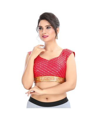 Red Padded Back Open Blouse  In Cotton Silk