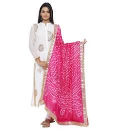 Pink Silk Bandhej Dupatta