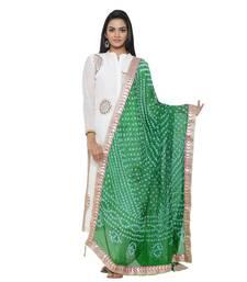 Green Silk Bandhej Dupatta