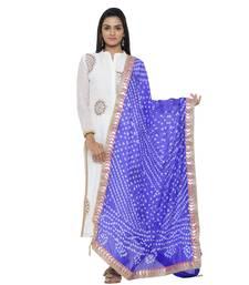 Blue Silk Bandhej Dupatta