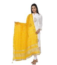 Yellow Silk Bandhej Dupatta