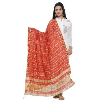 Red Silk Bandhej Dupatta