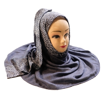 Casual Wear Rayon Soft Cotton Embroidery Dupatta Hijab Scarf For Women