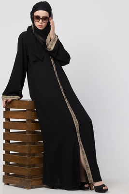 Front Open Designer Abaya With Embroidery