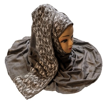 Metallic Grey Color Rayon Soft Cotton Embroidery Dupatta Scarf Hijab For Women