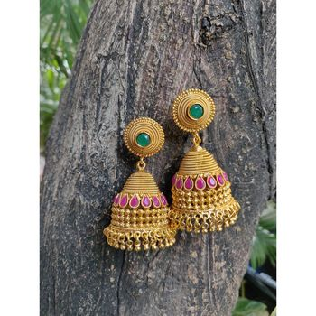 multicolor traditional stone jhumkas for women