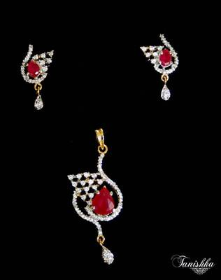 Mesmerizing cz gold plated pendent set with Ruby