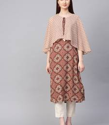 Maroon printed liva kurtas-and-kurtis