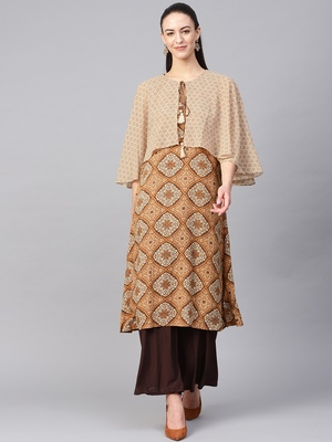 Mustard printed liva kurtas-and-kurtis