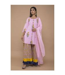 Pink Cotton Kurta Sharara with Dupatta in Floral Print