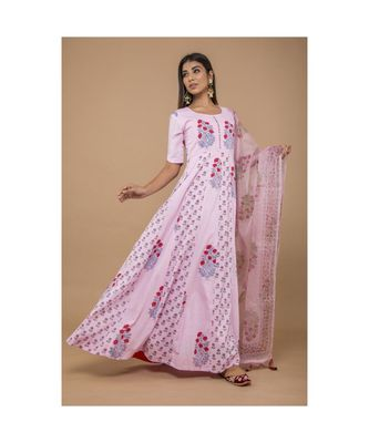 Pink Long Anarkali Dress With Dupatta