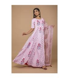 Pink Long Anarkali Dress With Dupatta
