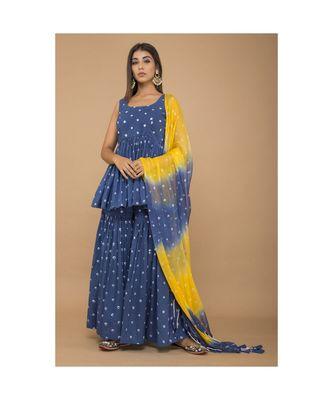 Blue Peplum Style Bandhej Sharara set