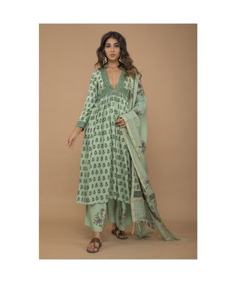 Rayon Handblock Kurta set with dupatta