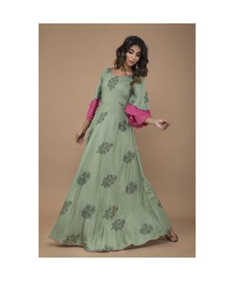 Green Floral Printed long Dress