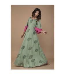 Green Floral Printed long Dress