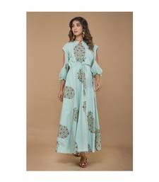 Sea Blue cold Shoulder Long Dress