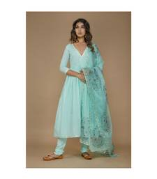 Blue Cotton Suit Set with Dupatta