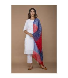 White Kurta Set with Bandhej Dupatta