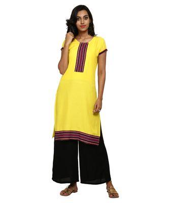 Mustard printed rayon stitched kurti